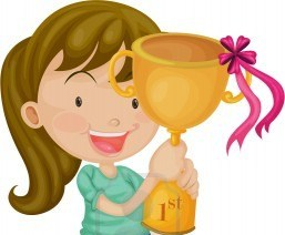 girl getting trophy